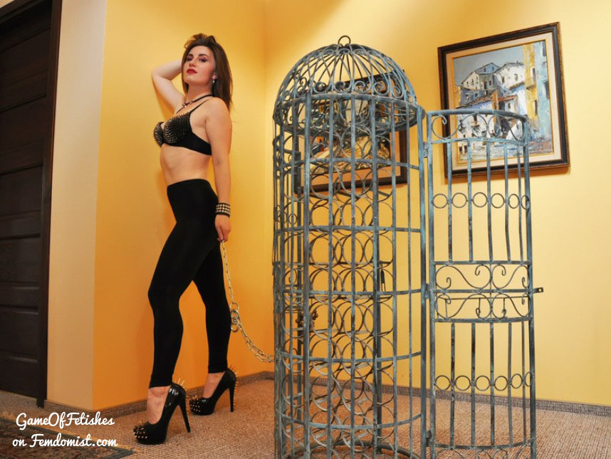Dominatrix found the perfect cage for her slave