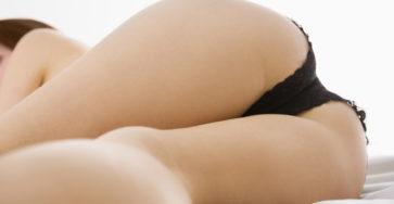 Black panties teasing