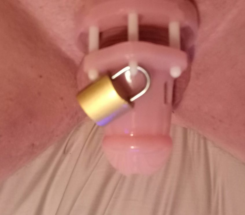 Caged clit dick.