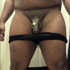 Black dicklette in chastity