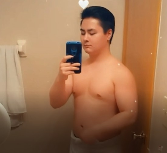 Asian guy drops towel and a shrimp popped out