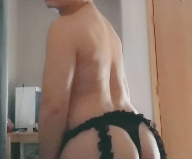 Brandon loves showing off his sexy lingerie like a sissy